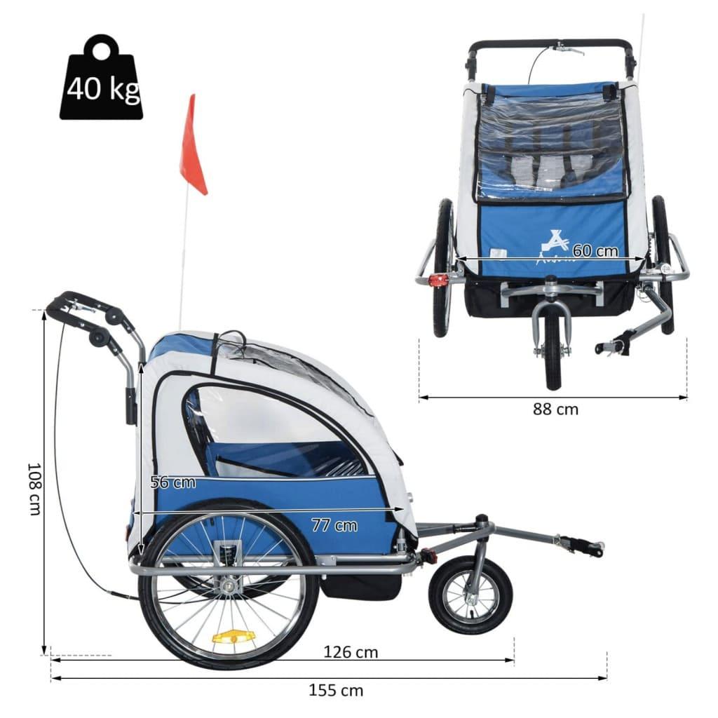 Medidas de todos los ángulos y peso del remolque de niño para bicicleta Homcom