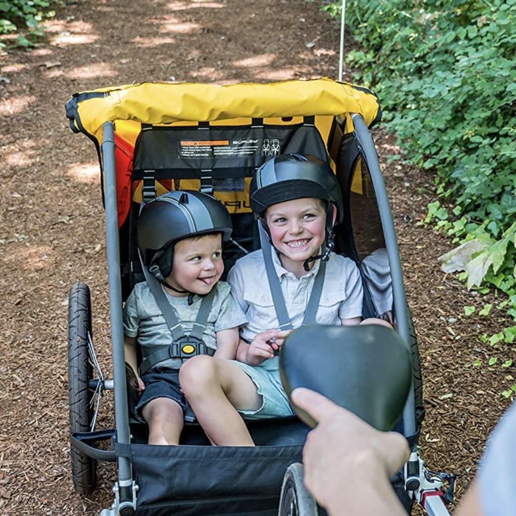 Niños a bordo del remolque de bicicleta para niños Burley Bee