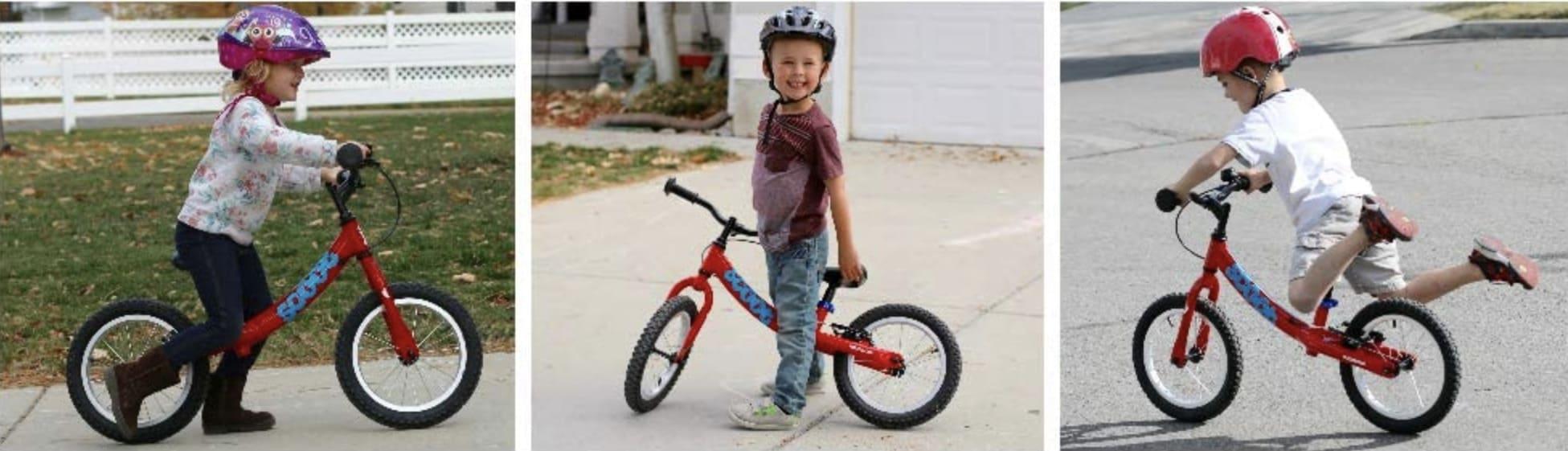 Niños conduciendo sus bicicletas sin pedales Rigdeback XL